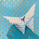 origami butterfly, original acrylic painting, Leigh Ann Torres, Austin artist