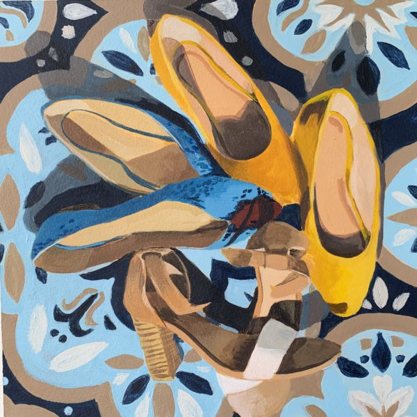 shoes on rug, the shoes I'm not wearing in quarantine, original acrylic painting, original art for sale, Leigh ann Torres, Austin artist