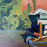 Stack of Books in the Sun, books, acrylic painting, original art for sale, Leigh Ann Torres, Austin artist