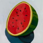 watermelon half, acrylic painting, original acrylic painting, Austin artist, Leigh Ann Torres