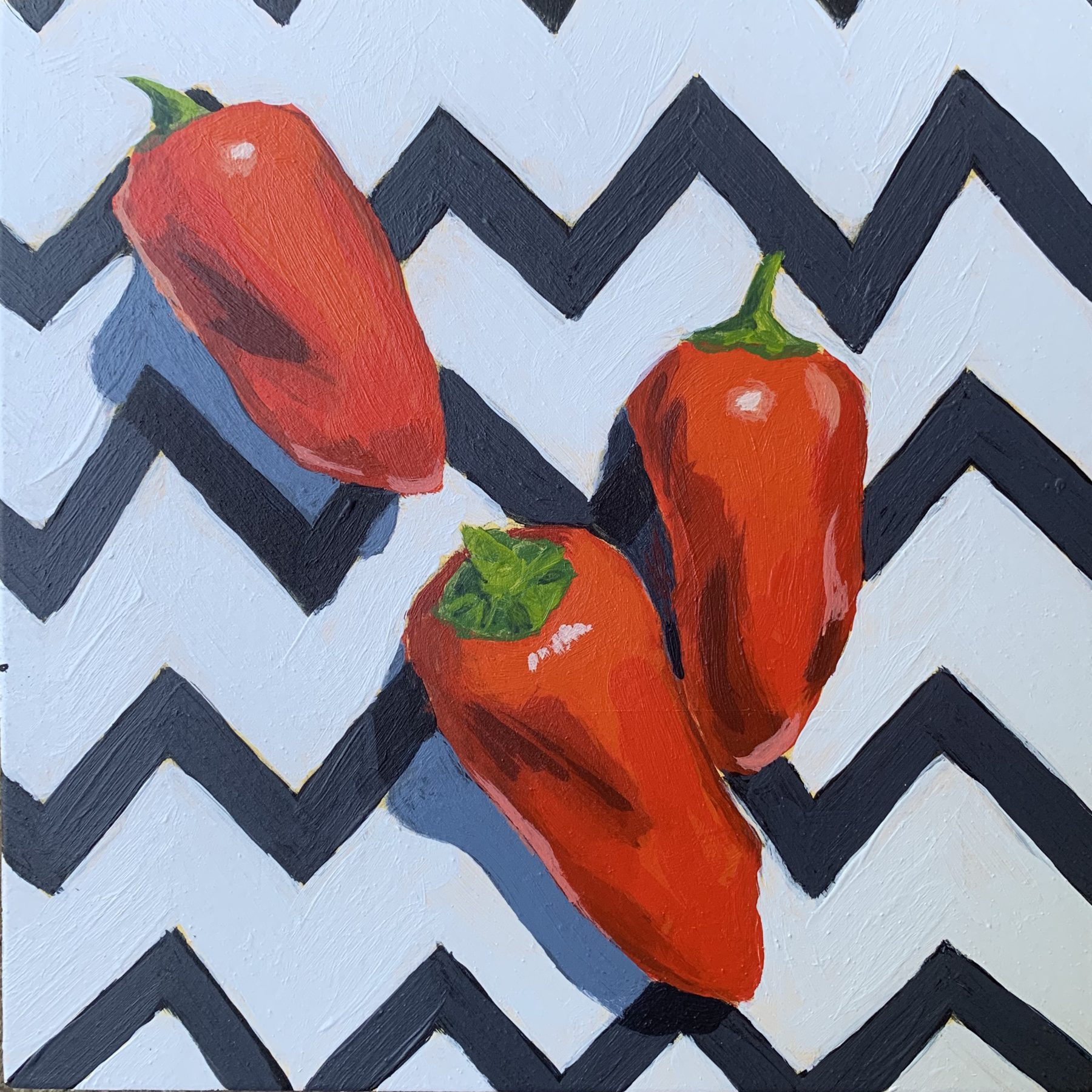 peppers on chevron, red peppers, leigh ann Torres