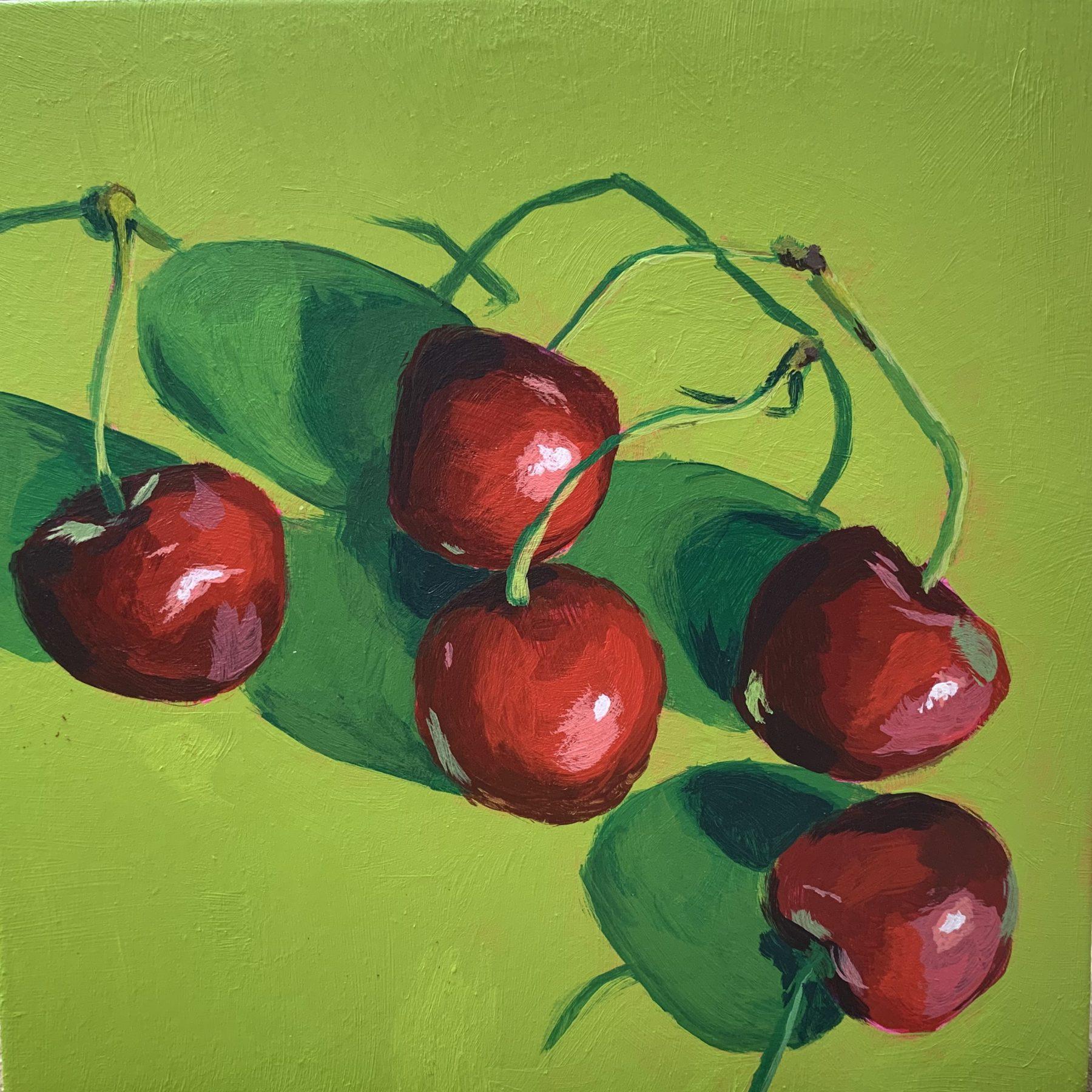 cherries, cherry painting, leigh ann torres