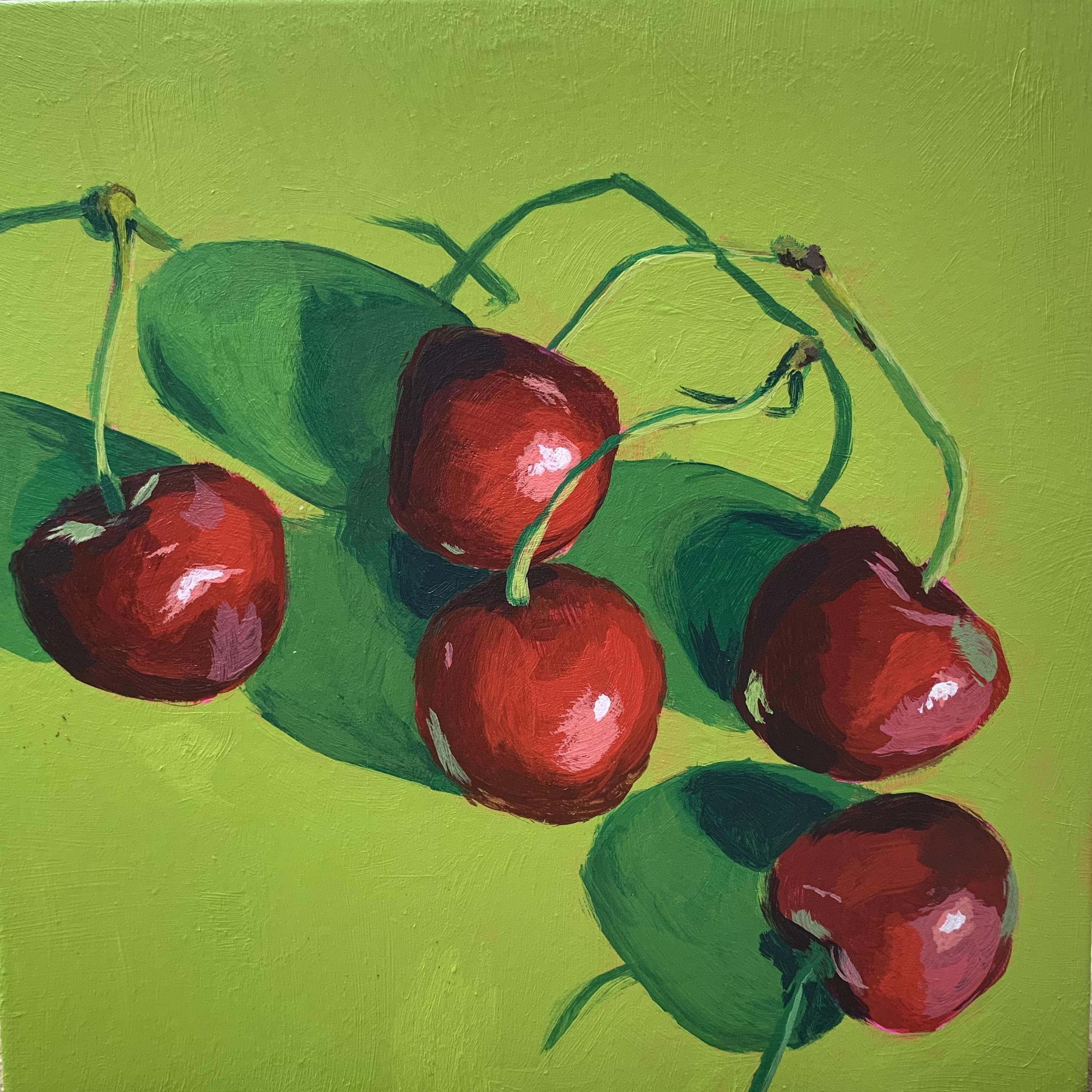 cherry painting, original acrylic painting, Leigh Ann Torres, Austin artist