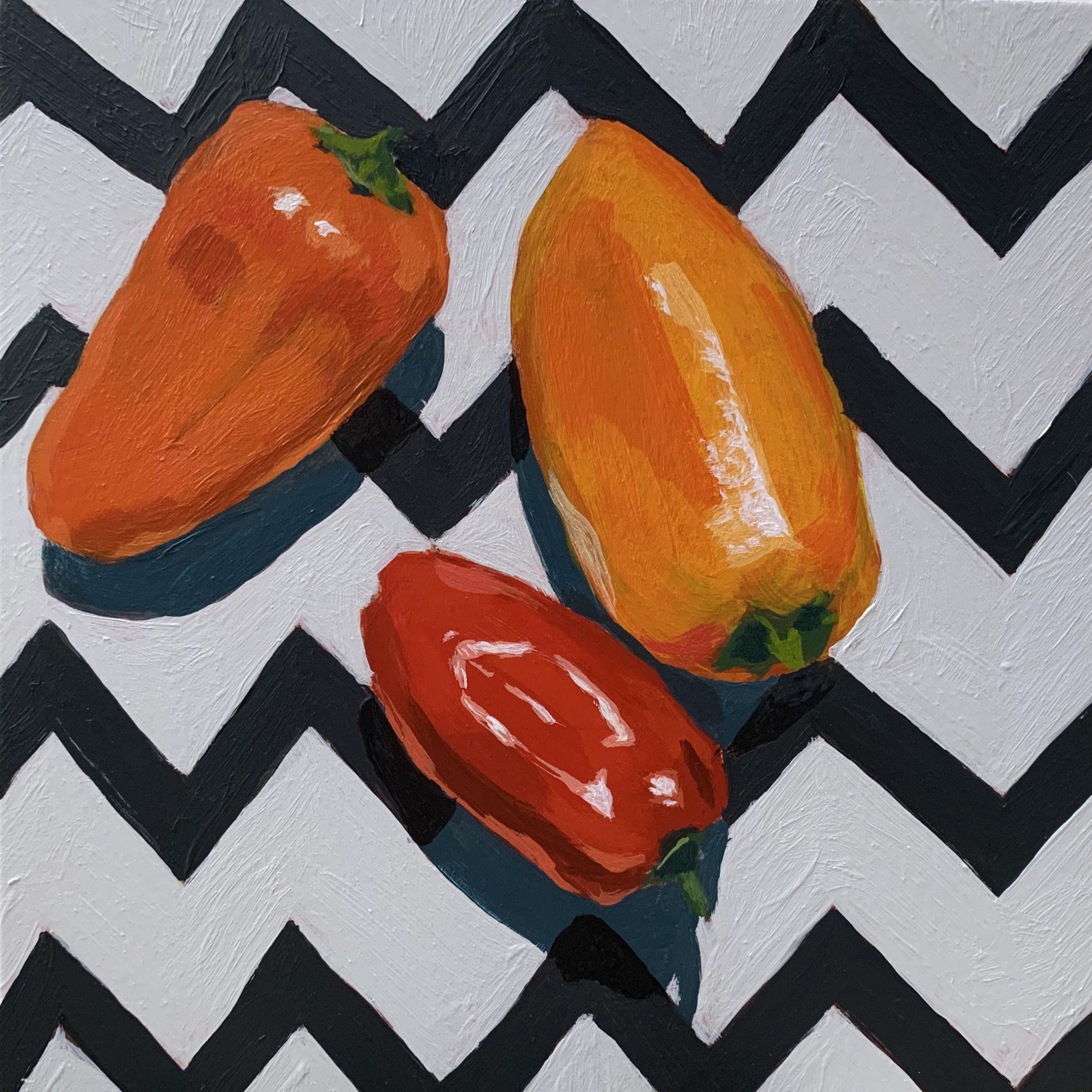 original acrylic painting, original artwork for sale, peppers, chevron, Austin artists, Leigh Ann Torres