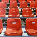empty stadium seats, acrylic painting, original artwork for sale, Austin artist, red seats, Leigh Ann Torres