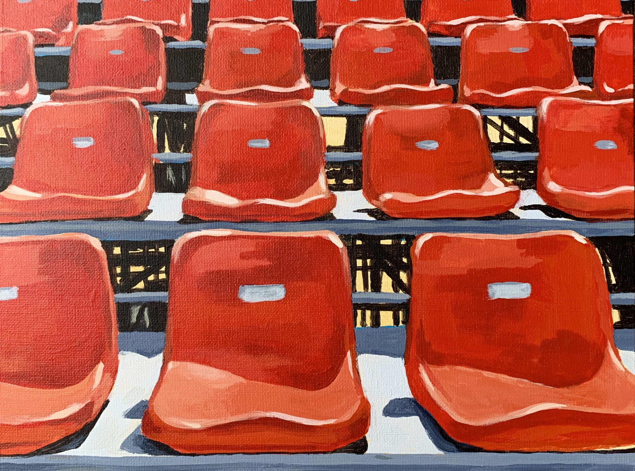 empty stadium seats, acrylic painting, original artwork for sale, Austin artist, red seats, Leigh Ann Torres