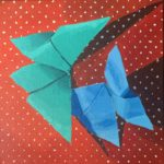 origami butterfly painting, original acrylic paintings, Austin artist, Leigh Ann Torres, artwork for sale