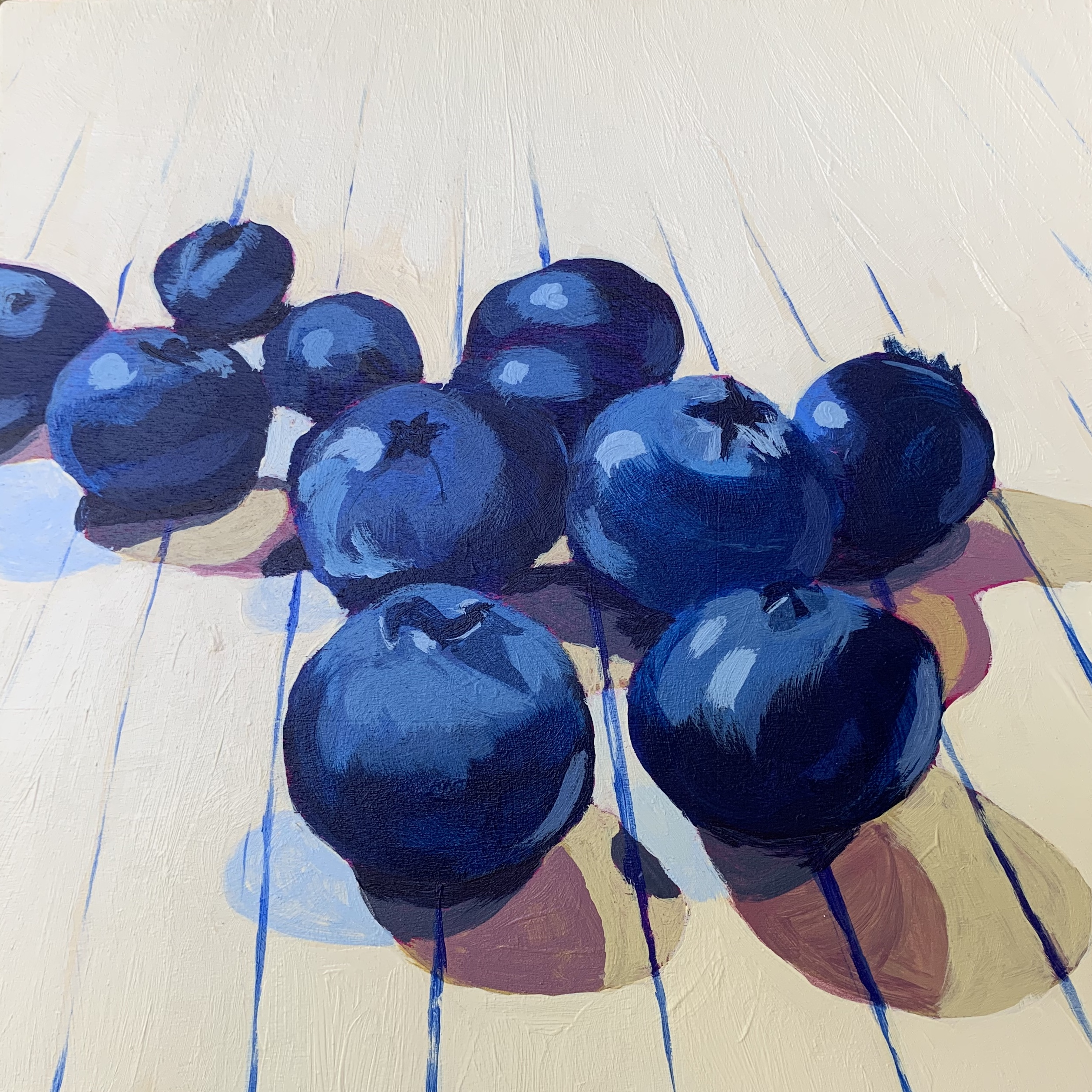 blueberries, blueberry painting, Austin artist, Leigh Ann Torres, original artwork, acrylic painting