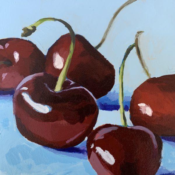 cherries, acrylic painting, original paintings, Leigh Ann torres
