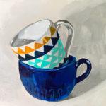 Stack of mugs, coffee mugs, coffee mug painting, acrylic painting, original paintings, leigh ann Torres