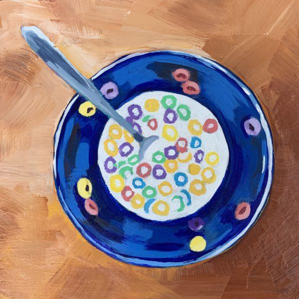 Leftover Fruit Loops, fruit loop painting, acrylic painting, original painting, Leigh Ann Torres