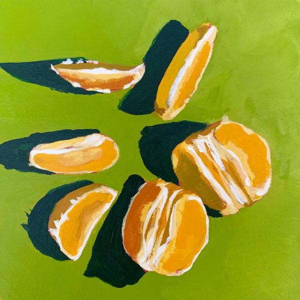 orange slices, orange slices on green, acrylic painting, original paintings, Leigh Ann Torres