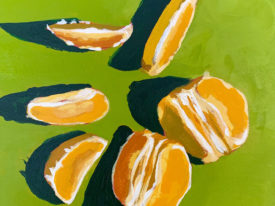 Orange Slices on Green