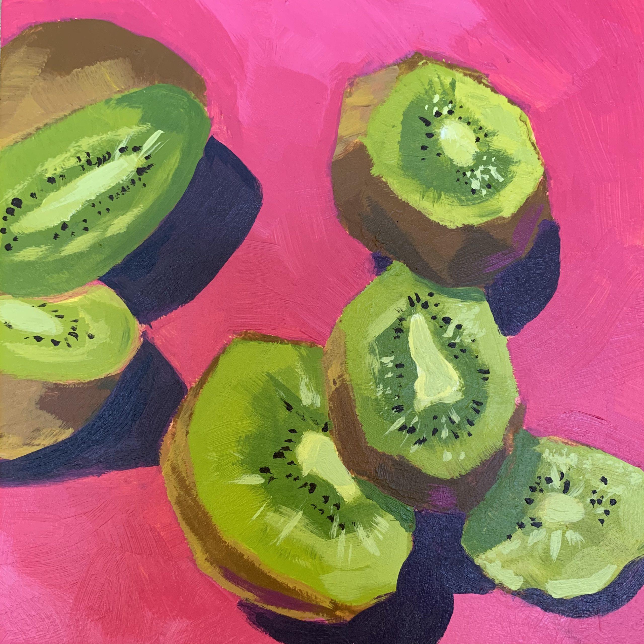 kiwi slices on pink, kiwi slices, acrylic painting, original paintings, Leigh Ann Torres