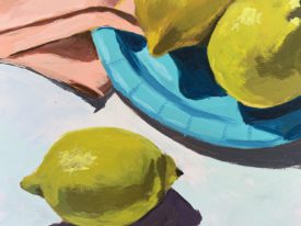 Lemons with Blue Plate