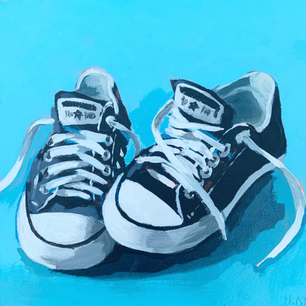 Converse, Chucks, black Chucks, Leigh Ann Torres, original acrylic paintings