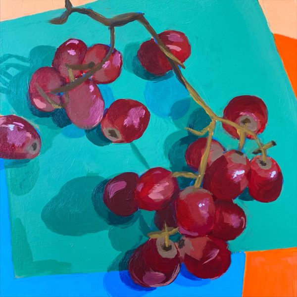 red grapes, still life painting, acrylic painting, acrylic still life, Leigh Ann torres