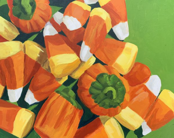 candy corn painting, team candy corn, original acrylic painting, Leigh Ann torres