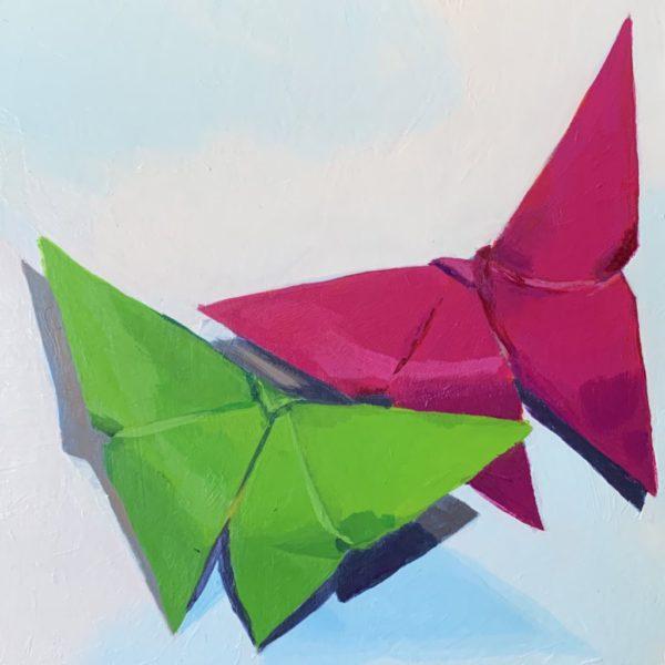 origami butterflies, original acrylic paintings, Leigh Ann torres