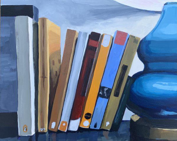 on the bookshelf, Leigh Ann Torres, book painting