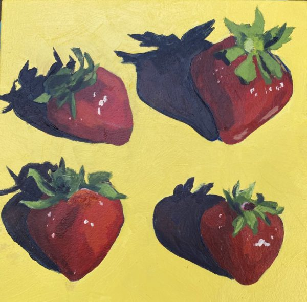 four strawberries, strawberry painting, acrylic painting, Leigh Ann torres