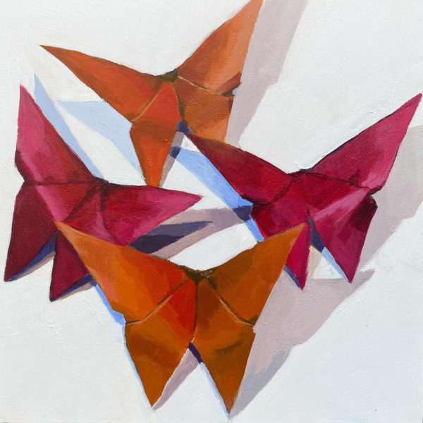 origami butterflies, butterfly painting, Leigh Ann Torres