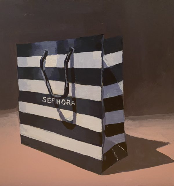 Sephora bag painting, acrylic painting, Leigh Ann Torres